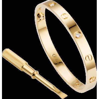 БРАСЛЕТ CARTIER LOVE YELLOW GOLD 4 DIAMONDS