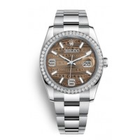 Datejust 36mm with brown waves dial and diamond bezel